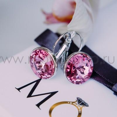 Серьги «Чародейка» с розовыми кристаллами Сваровски, покрытие - родий