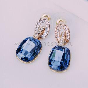 Серьги «Элегия» с голубыми кристаллами Сваровски