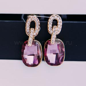 Серьги «Элегия» с розовыми кристаллами Сваровски