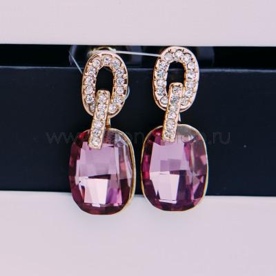 Серьги Элегия с розовыми кристаллами Сваровски