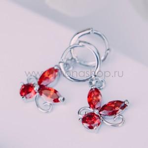 Серьги «Элен» с красными циркониями