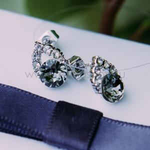 Серьги «Фея» с серым кристаллом Сваровски