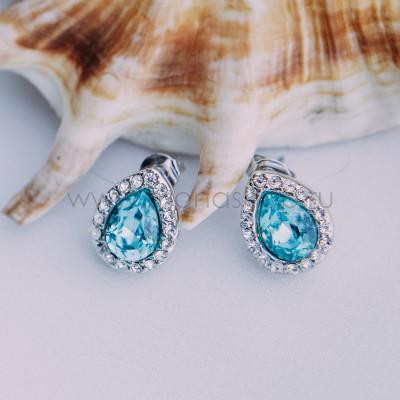 Серьги «Хрустальные капли» с голубыми кристаллами Сваровски