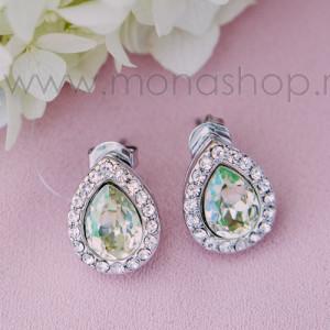 Серьги Хрустальные капли с кристаллами Swarovski цвета шампань