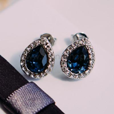 Серьги Хрустальные капли с синими кристаллами Сваровски