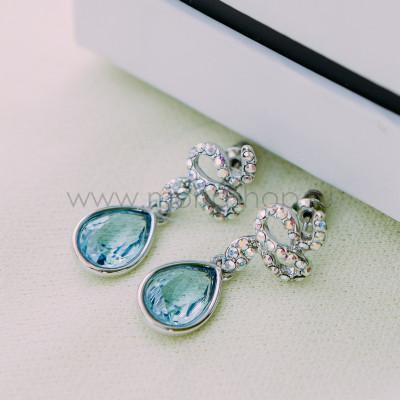 Серьги «Коварство» с голубыми кристаллами Сваровски