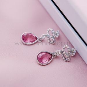Серьги Коварство с розовыми кристаллами Сваровски