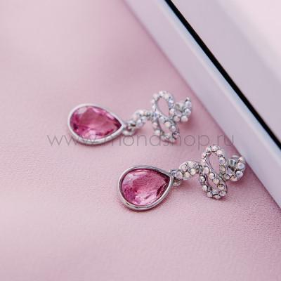 Серьги «Коварство» с розовыми кристаллами Сваровски