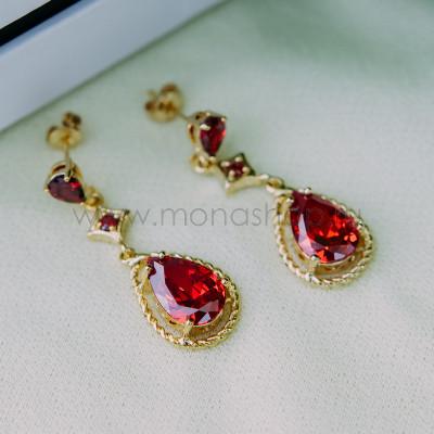 Серьги «Мелина» с красным цирконием