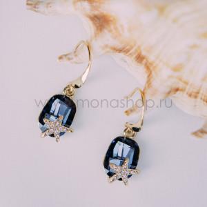 Серьги «Морская звезда» с синими кристаллами Сваровски