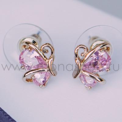Серьги «Нежный ангел» с розовым цирконием