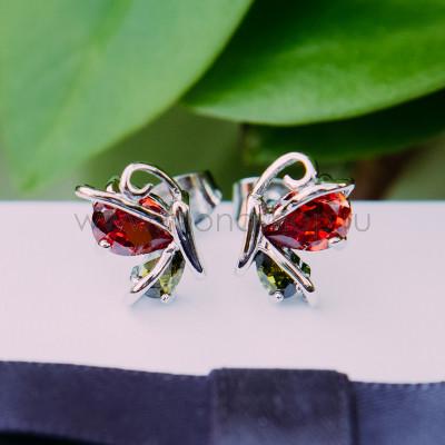 Серьги «Офелия» с красным цирконием