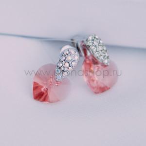 Серьги «Огненное сердце» с розовыми кристаллами Сваровски