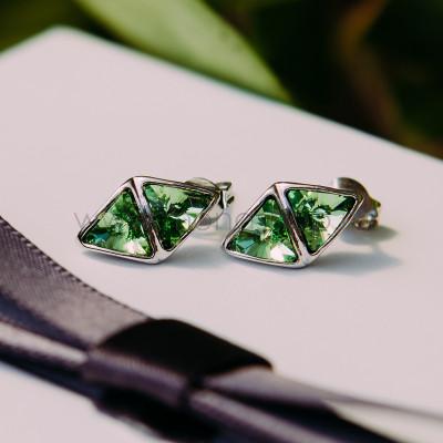 Серьги «Отражение» с зелеными кристаллами Сваровски