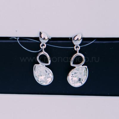 Серьги «Весенняя капель» с белыми кристаллами Сваровски