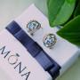 Серьги «Воздушные облака» с голубыми кристаллами Сваровски