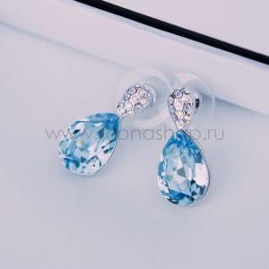 Серьги Затмение с голубыми камнями Сваровски