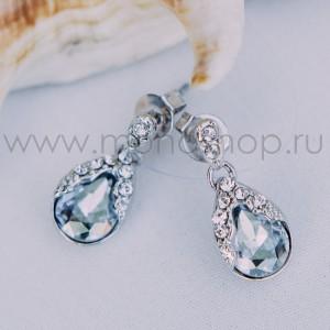 Серьги «Зеркало души» с серыми кристаллами Сваровски