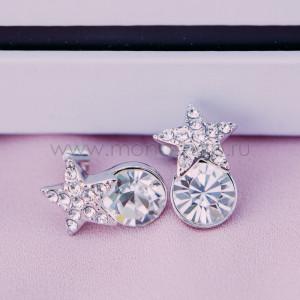 Серьги «Звездочки» с белыми кристаллами Сваровски