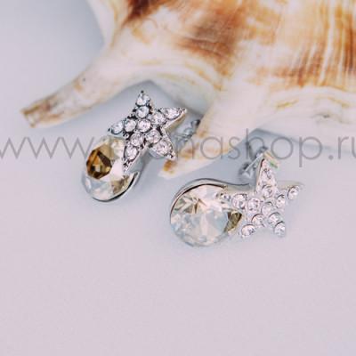 Серьги «Звездочки» с кристаллами Сваровски цвета шампань