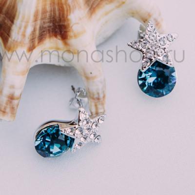 Серьги Звездочки с синими кристаллами Сваровски