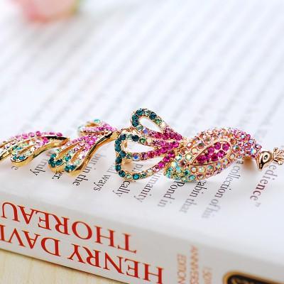 Брошь «Павлин» с хвостом-подвеской из кристаллов Swarovski