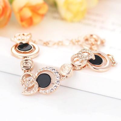 Браслет «Фортуна» с круглыми звеньями из черной эмали и кристаллов