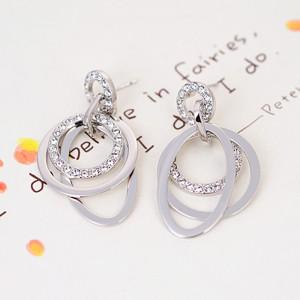 Серьги Три кольца с австрийскими кристаллами