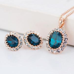 Комплект Старинный вальс с синими кристаллами Swarovski