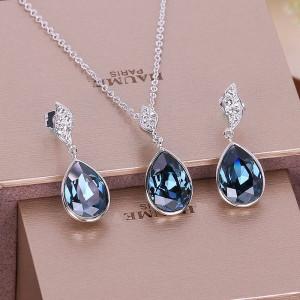Комплект «Морские капли» с синими кристаллами Сваровски