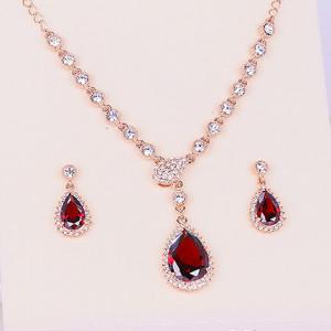 Комплект «Совершенство» рубиновый с камнями Сваровски