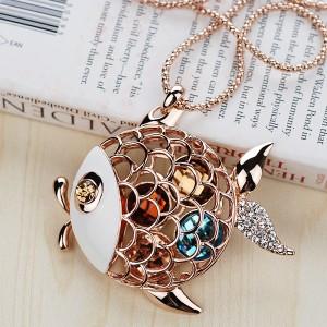 Кулон «Золотая рыбка»  с кристаллами Сваровски и эмалью