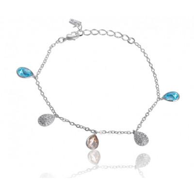 Браслет «Весенняя капель» с голубыми подвесками Сваровски