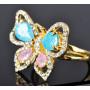 Кольцо «Бабочка» с разноцветными циркониями