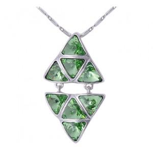 Кулон «Отражение» с зелеными кристаллами Сваровски