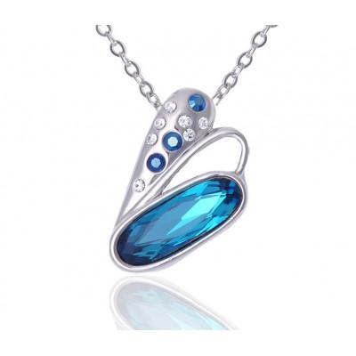Кулон «Взмах крыла» с голубыми кристаллами Сваровски