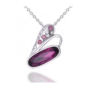 Кулон «Взмах крыла» с кристаллами Сваровски цвета бордо