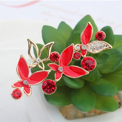 Брошь Флора красная с белыми кристаллами