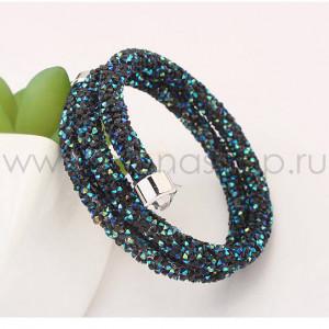 Браслет «Звездная пыль» с россыпью темно-синих кристаллов