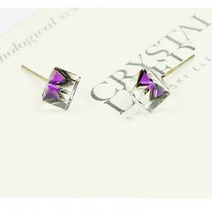 Серьги «Миражи» с фиолетовыми кристаллами-хамелеонами Сваровски