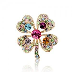 Брошь «Весна» малая с разноцветными кристаллами Сваровски