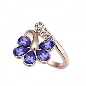 Кольцо «Цветочная лоза» с фиолетовыми кристаллами Сваровски