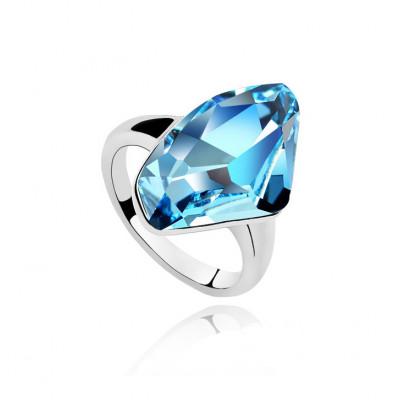 Кольцо «Кристалл» с голубым камнем Сваровски