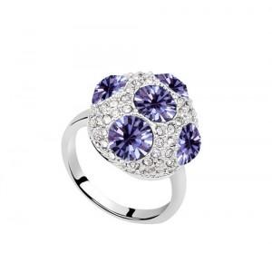 Кольцо «Россыпь» с фиолетовыми кристаллами Swarovski