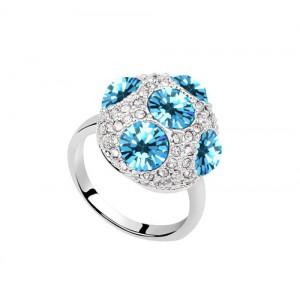 Кольцо «Россыпь» с голубыми кристаллами Swarovski