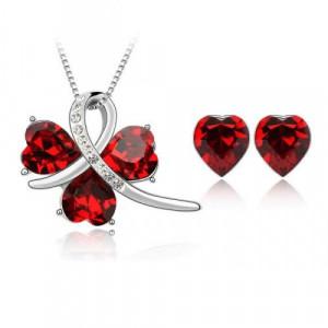 Комплект «История любви» с красными сердечками Сваровски