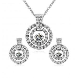 Комплект «Колесница» с цирконием, покрытие - белое золото