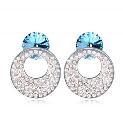 Серьги «Каприз» с голубыми кристаллами Сваровски