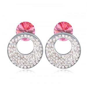 Серьги Каприз с розовыми кристаллами Сваровски