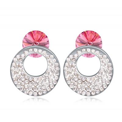 Серьги «Каприз» с розовыми кристаллами Сваровски